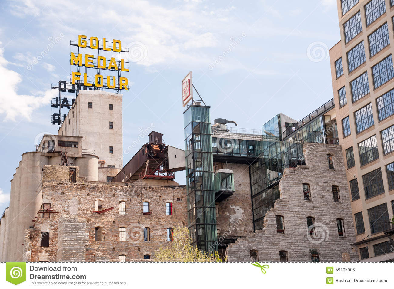 Gold Medal Flower Sign And Mill City Museum Editorial Stock Photo.