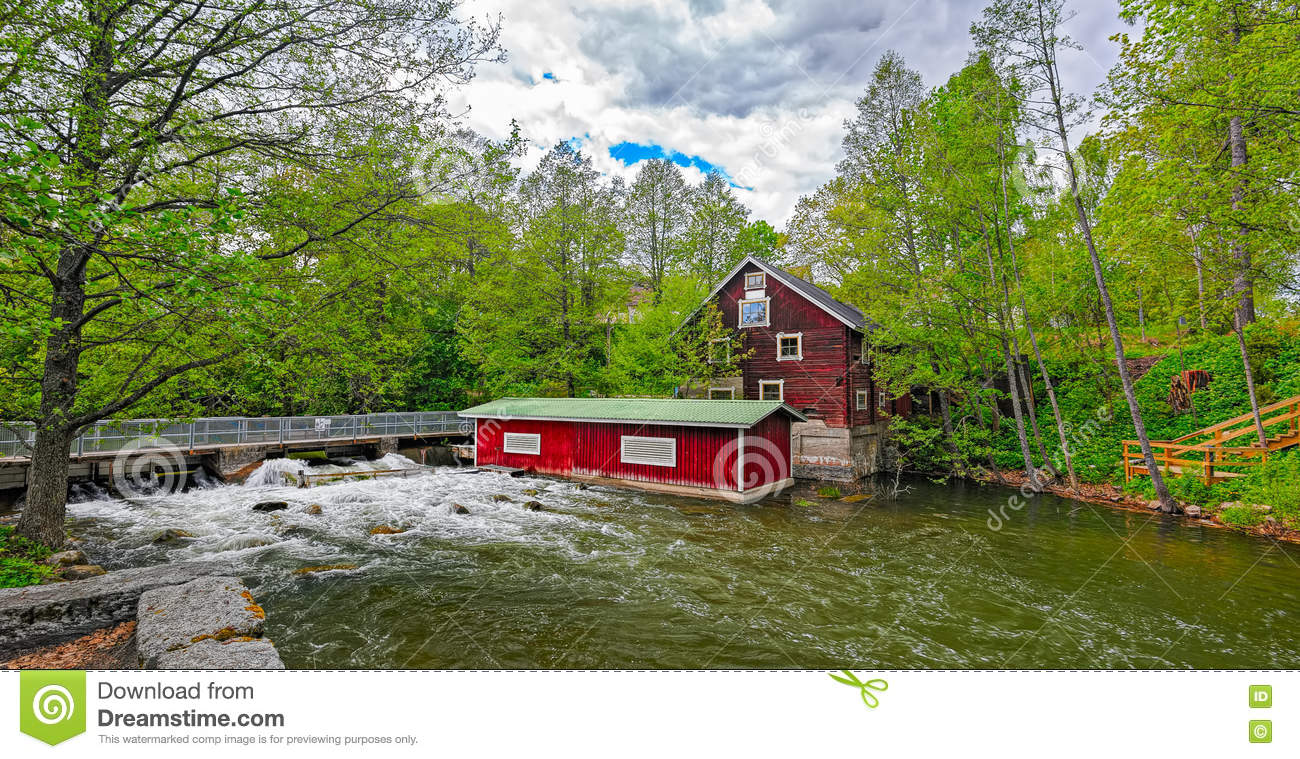 Rapids And Water Mill Museum Dam In Vaaksynjoki Stock Photo.