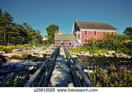 Stock Images of Barrington Woolen Mill Museum, Nova Scotia, Canada.
