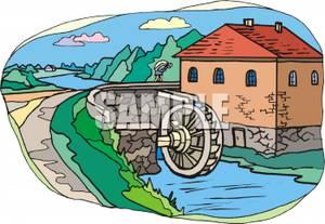 Mill Waterwheel Clipart.
