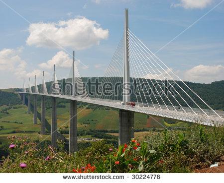 Millau Bridge Stock Photos, Royalty.