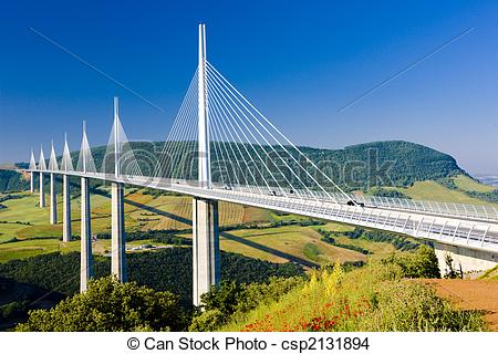 Stock Photo of Millau Viaduct, Aveyron D�partement, France.