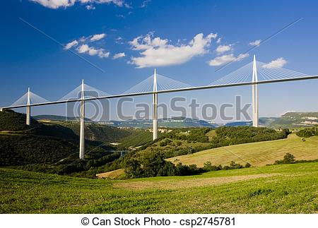 Stock Photography of Millau Viaduct, Aveyron D�partement, France.