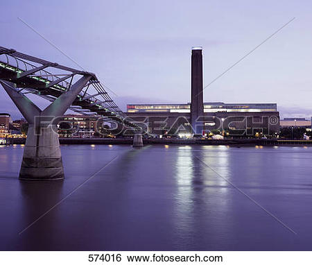 Stock Images of Tate Modern and the Millennium Bridge in London.