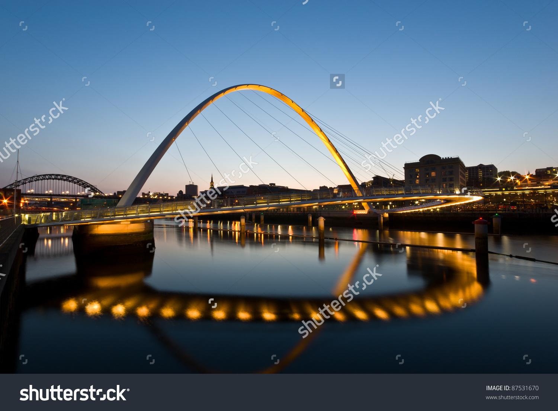 Newcastle And Gateshead Millennium Bridge At Sunset Stock Photo.
