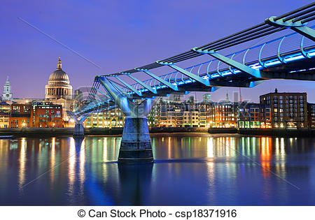 Stock Photography of Millennium Bridge and Saint Paul Cathedral.