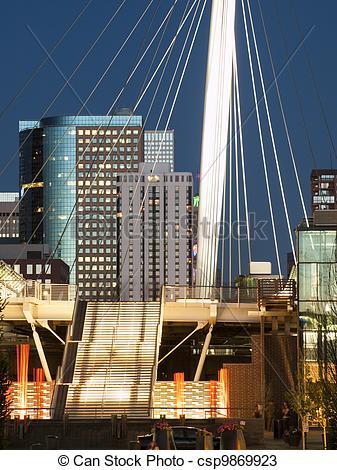 Stock Photos of Denver Millennium Bridge at sunset. csp9869923.