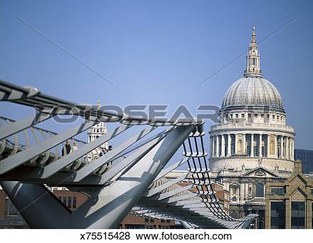 Pictures of Millennium Bridge with Saint Paul's Cathedral.