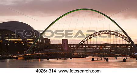 Stock Photo of Bridge over a river, Gateshead Millennium Bridge.