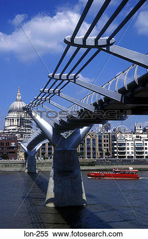 Stock Image of Millennium Bridge and St Paul's Cathedral London UK.