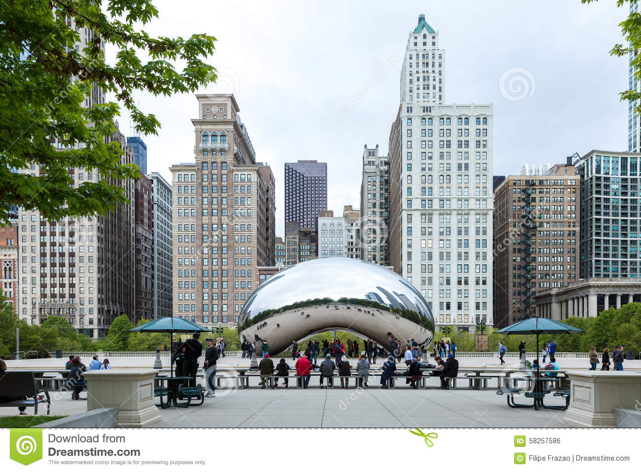 Chicago Bean Millennium Park Editorial Photo.