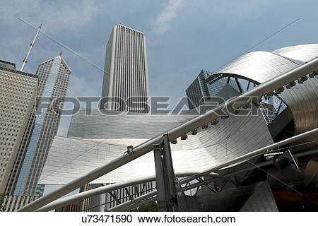 Stock Photography of Low angle view of Jay Pritzker Pavilion.