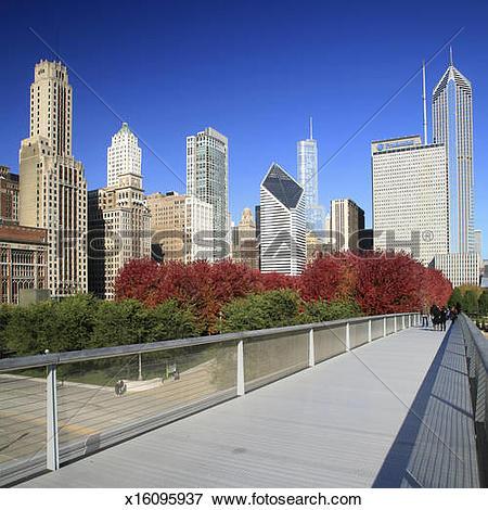 Picture of Millennium Park, Michigan Avenue skyline, Chicago.