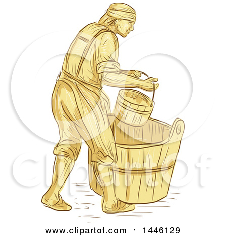 Clipart of a Retro Sketched Styled Medieval Miller or Milne with a.