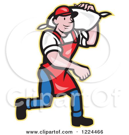 Clipart of a Cartoon Flour Miller Worker Carrying a Sack on an.