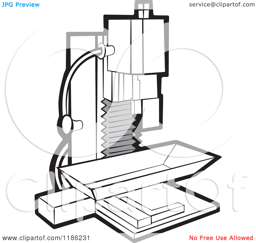 Clipart of a Black and White Milling Machine.