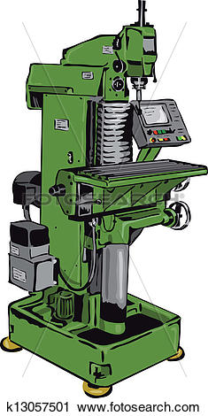 Clipart of conventional milling machine with control panel.