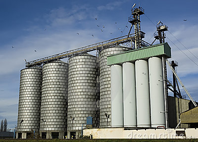 Silos At A Flour Mill Royalty Free Stock Images.