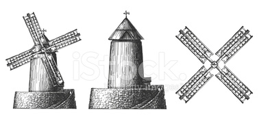 Old Mill Vector Logo Design Bread OR Wheat Grain stock vectors.