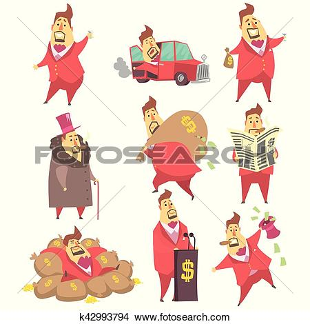 Clipart of Millionaire Rich Man Funny Cartoon Character And His.