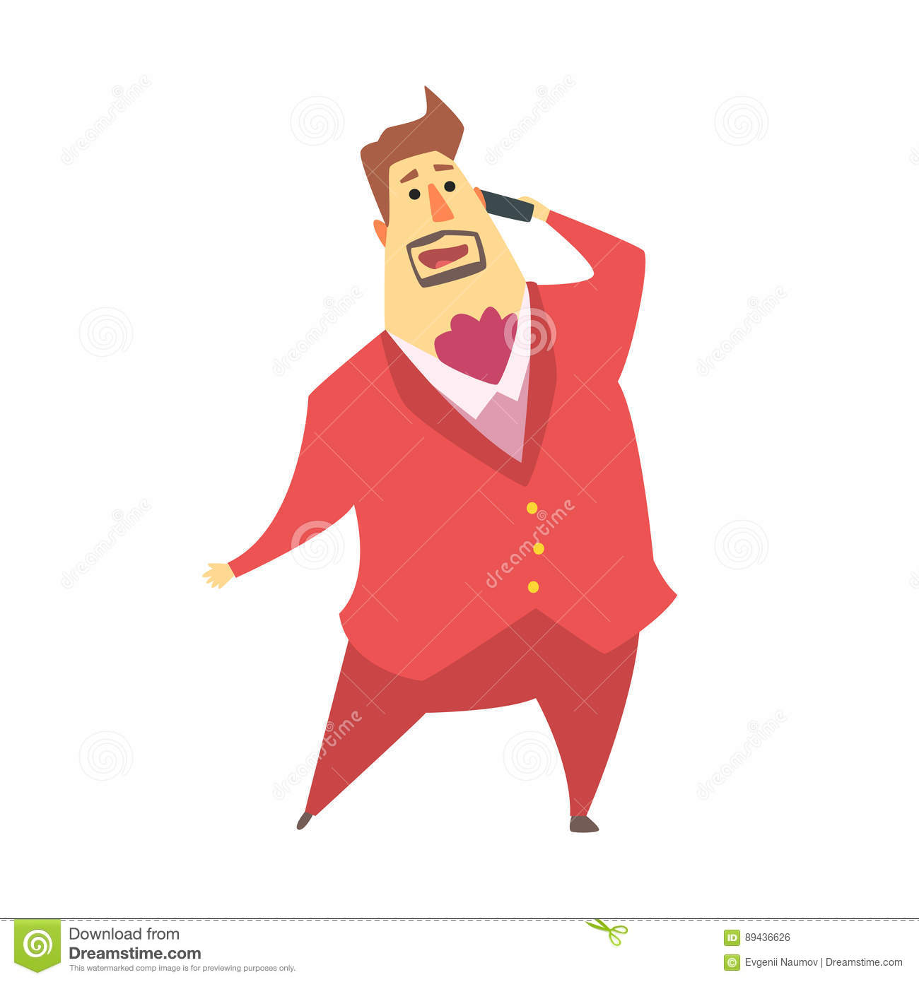 Millionaire Rich Man Talking On Cell Phone,Funny Cartoon Character.