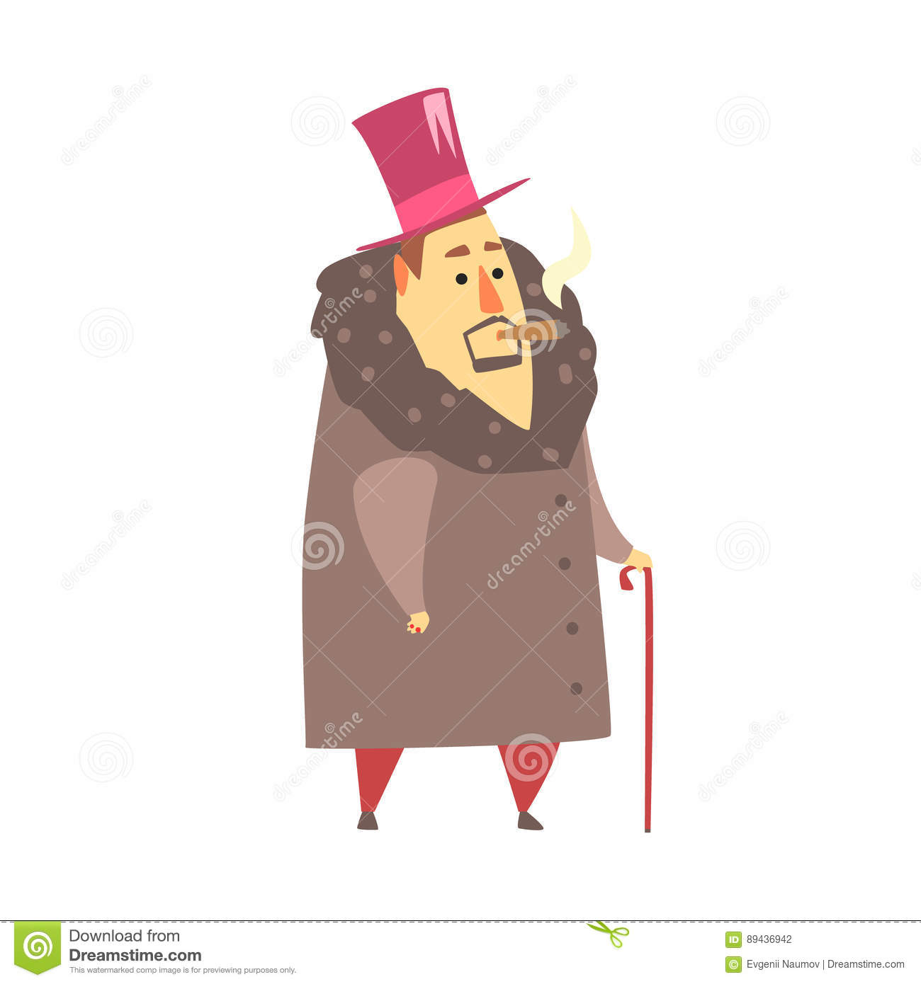 Millionaire Rich Man In Coat And Top Hat Smoking Cigar ,Funny.
