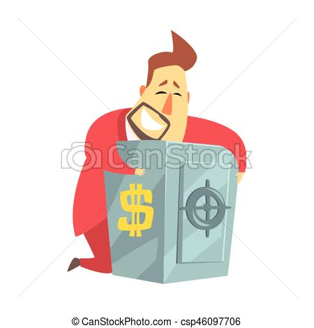 Vector Clipart of Millionaire Rich Man Hugging His Metal Safe.