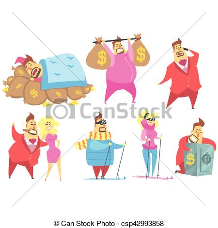 Clipart Vector of Millionaire Rich Man Funny Cartoon Character And.