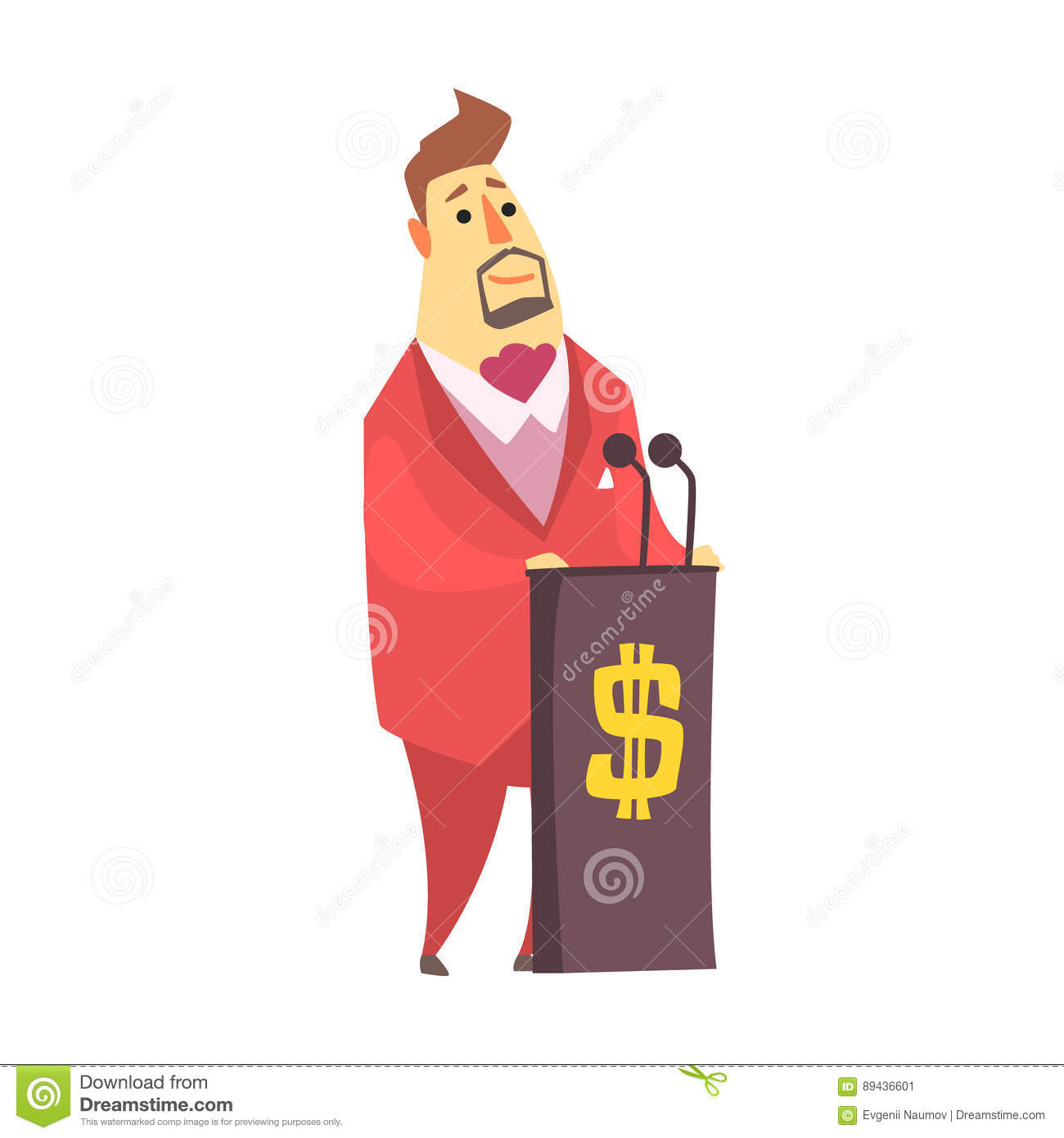 Millionaire Rich Man On The Tribune Debating On Financial.