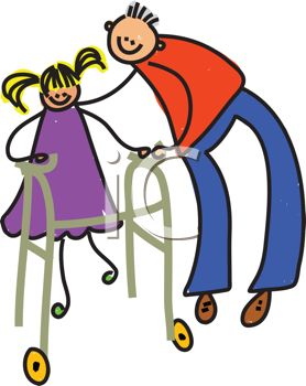 Royalty Free Clipart Image of a Person Helping a Girl Walk.