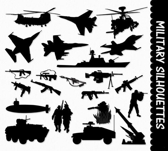 Military Clip Art Graphics Army Clipart Scrapbook Silhouette Airplane Ship  Tank Gun Submarine Helicopter Digital Download JPG PNG Vector.