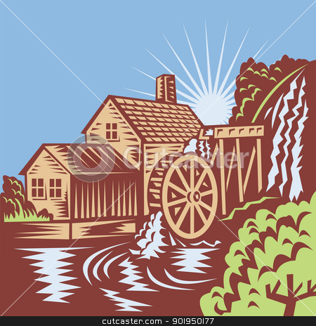 Water Wheel Mill Clipart.