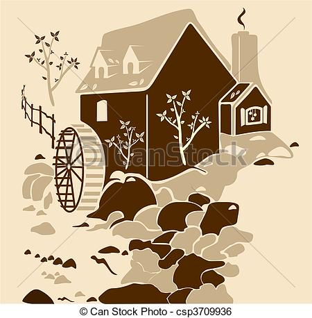 Mill Wheel Clipart.