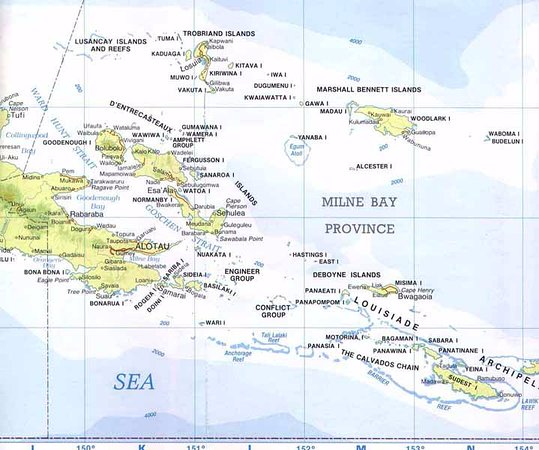 map of Milne Bay Province.
