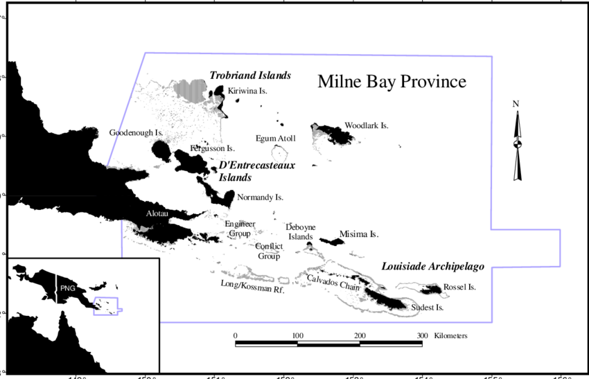 Map of Milne Bay Province showing the major island and reef.