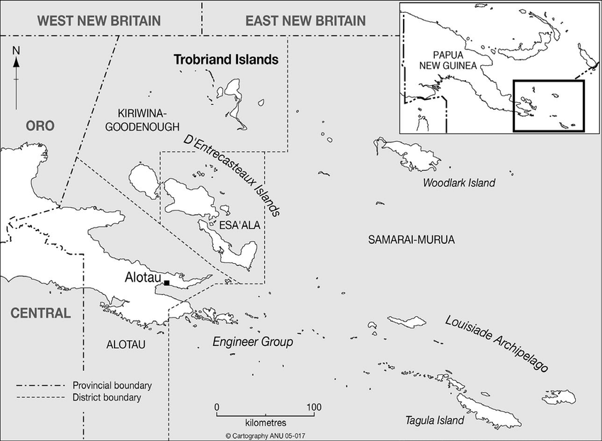 2: Map of Milne Bay Province, south.