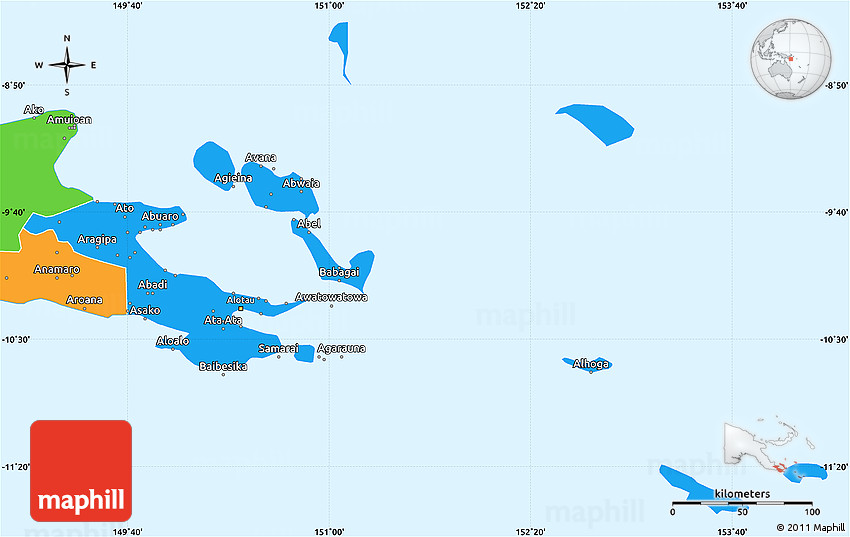 Political Simple Map of Milne Bay.