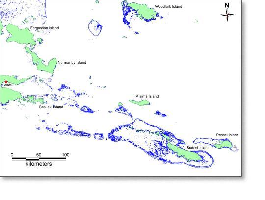 Milne Bay Province, showing all the major islands, with the.