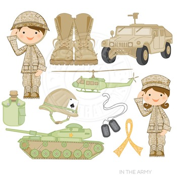 In the Army Cute Digital Clipart, Military Clip Art.