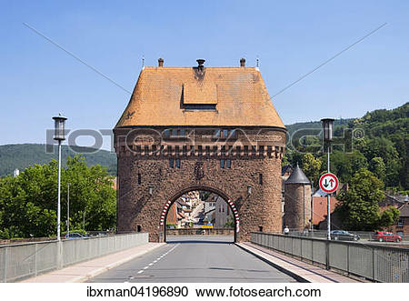 Stock Photography of Bruckentor bridge gate on the Main Bridge.