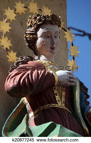 Stock Image of Statue of Virgin Mary, Main street of Miltenberg in.