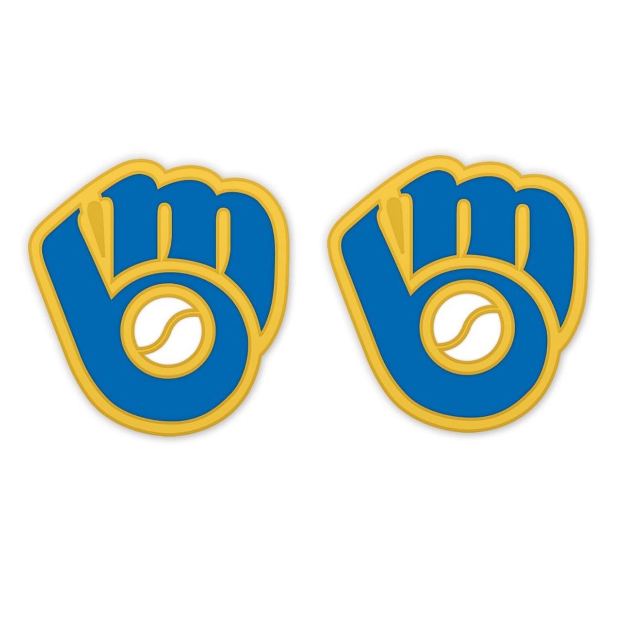 Milwaukee Brewers Retro Glove Logo Post Earrings.