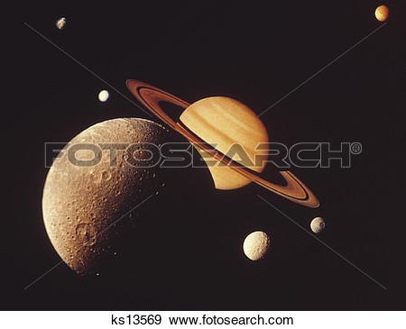 Stock Photograph of Montage of Saturn and its moons: Dione front.