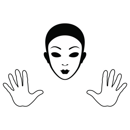 Mime face clipart.