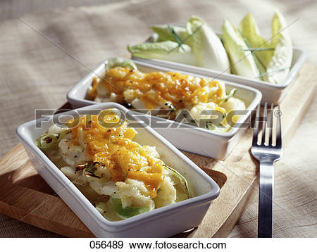 Stock Photograph of Cod and potato bake topped with grilled.