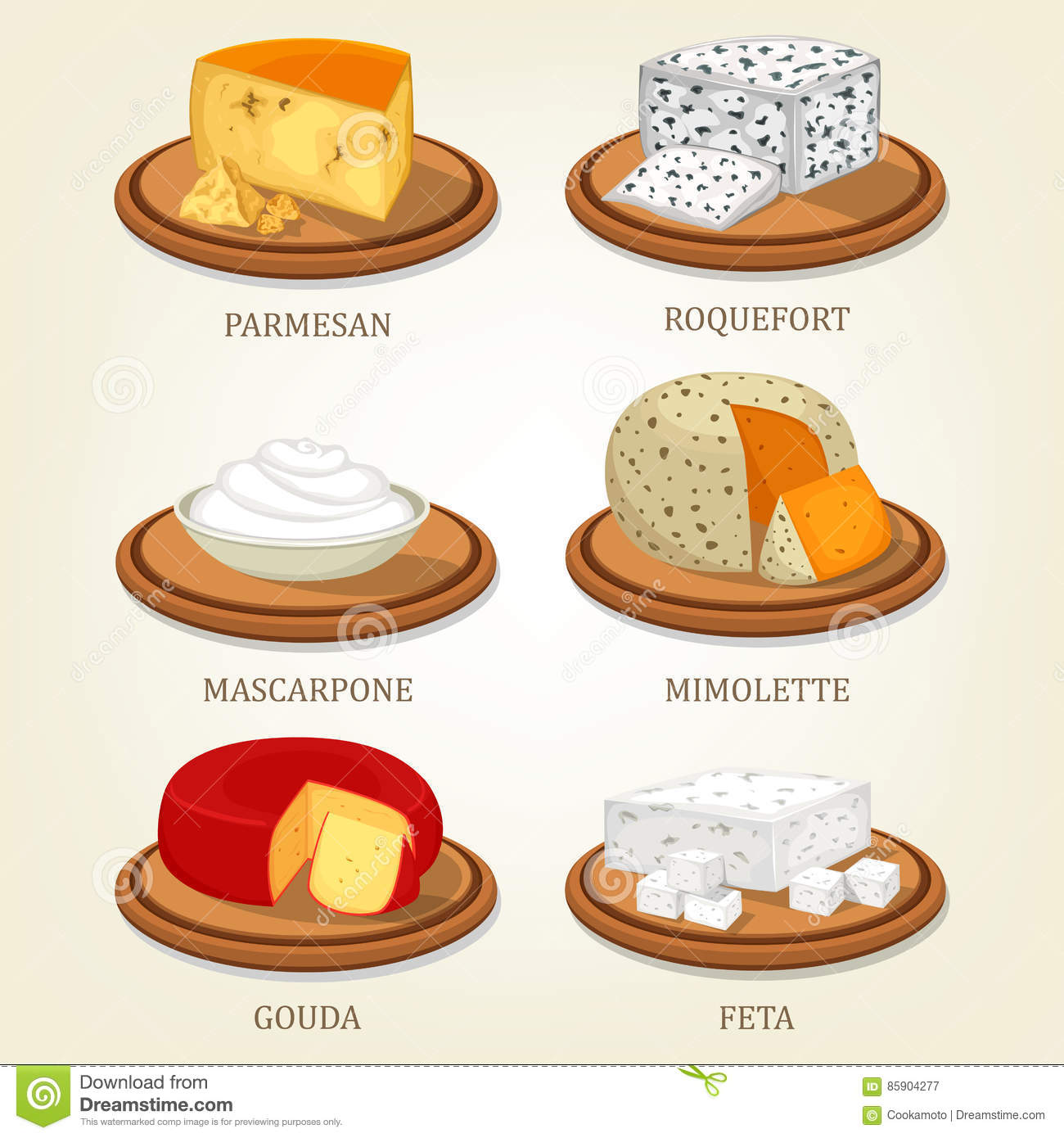 Roquefort And Parmesan, Mimolette And Gouda, Feta Stock Vector.