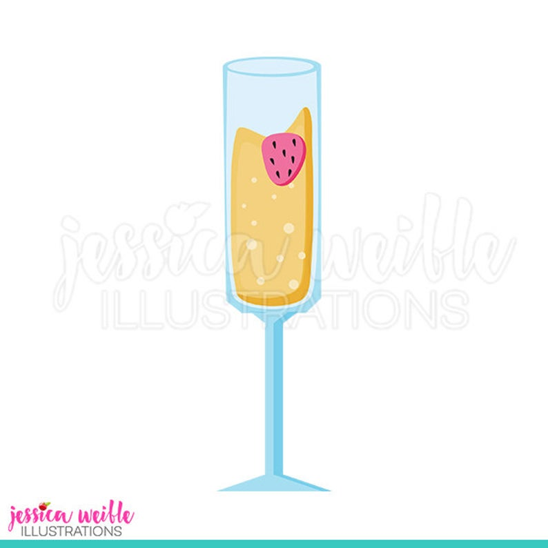 Strawberry Mimosa Cute Digital Clipart, Mimosa Clip art, Bubbly Drink  Graphic, Champagne Illustration, #985.