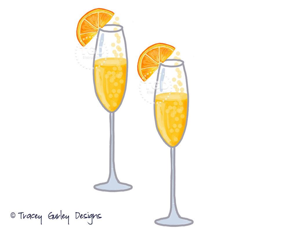 Mimosa Clip Art Champagne clip art watercolor clip art.