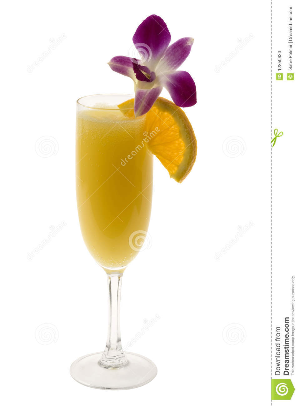 Mimosa Cocktail On A White Background Stock Photo.
