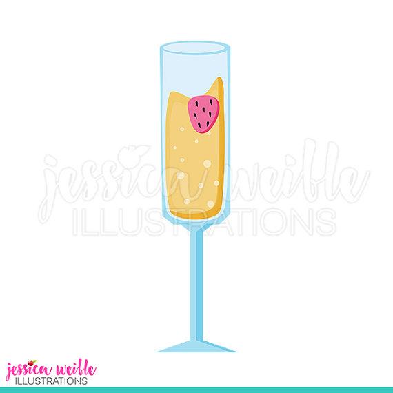 Strawberry Mimosa Cute Digital Clipart, Mimosa Clip art, Bubbly.